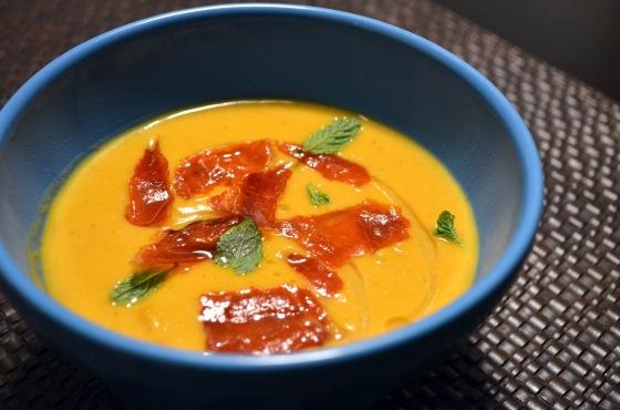 Squash Soup with Crispy Prosciutto