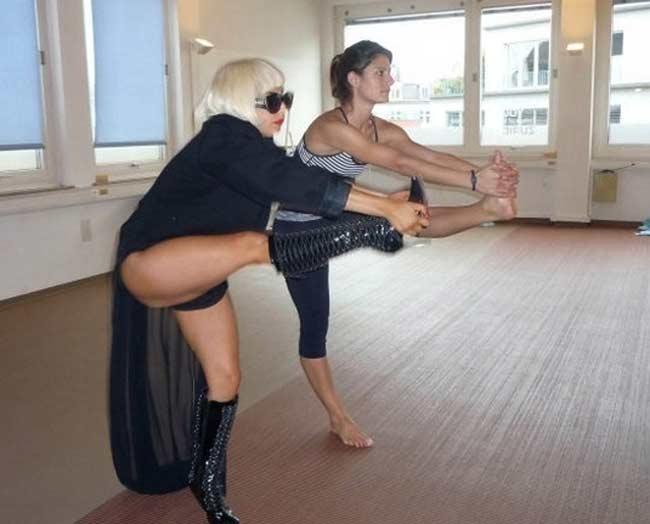 gaga does yoga in costume