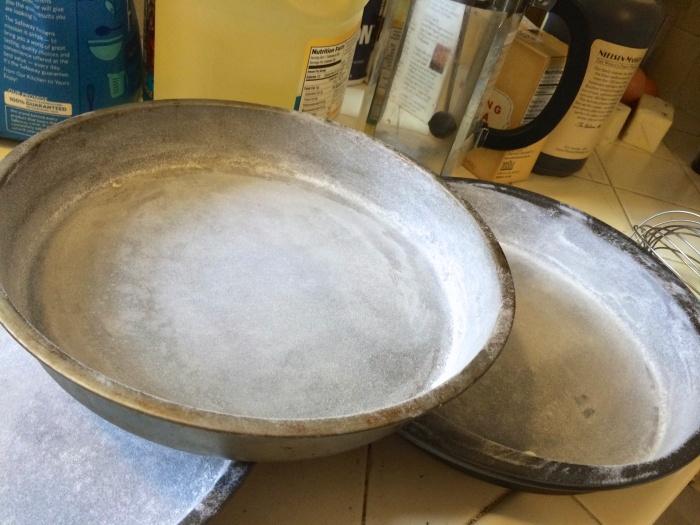 floured pans